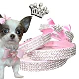 XXS Krone Rosa Chihuahua Strass Halsband Hunde Halsband