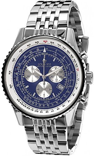 Louis XVI Herren-Armbanduhr Artagnan Stahlband Silber Blau Swiss Made Chronograph Analog Quarz Edelstahl 581
