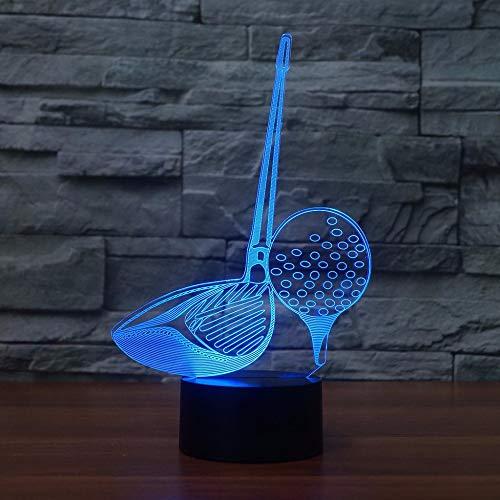 OSVD 3D Led Club de Golf Herramienta de Modelado Luz de Noche Interruptor Táctil Lámpara de Mesa Usb 7 Colores Decoración de la Habitación Iluminación de Sueño Led Para Regalos de Golfistas Remoto