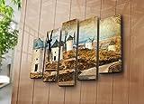 LaModaHome Gras Deko auf Leinwand, 5Pcs (104,1x 68,6cm Gesamt) Holz Dick Rahmen Malen Windmühle Zeichnen Sky Muster Bunt Multi Varianten in Store.