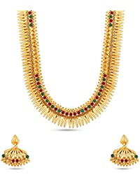 Kalyani Covering Gold Brass Swaga Long Necklace Set For Women & Girls. - B07868XT3K