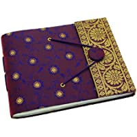 Fair Trade Album per fotografie ricoperto in tessuto sari viola 180 x 140 mm - Album Handmade Wedding Photo