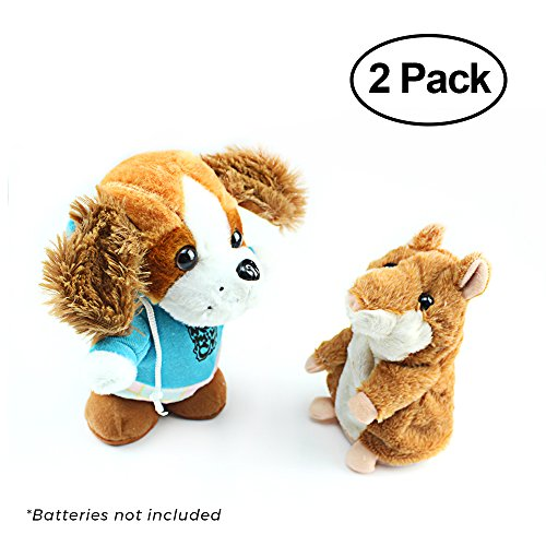 Talky Pet's Talking Hamster And Talking Dog Plush Toys, Talking Recording Interactive Toy