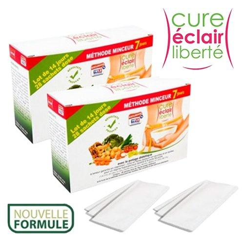 CURE Eclair Liberte Plus Sopa dietética hipocalórica para perder peso, bolsas monodosis para 28días, rica en fibras y vitaminas y baja en glúcidos y lípidos