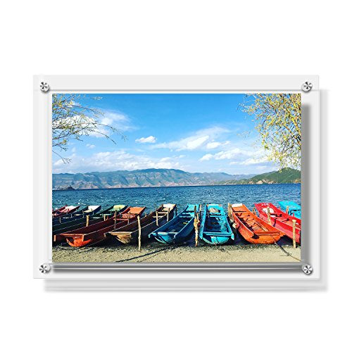 CECOLIC Acryl Wandhalter Bilderrahmen, Doppelte Panel Clear Hanging Photo Frame hält 43,6 x 31,5cm Bilder, A3 Brief Größe Foto Frame für Certificate Poster Display (Große Foto-frame)