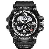 Erencook Männer Analogue Digital Armbanduhr 30M Wasserdichtes Uhr Sport Militär Digitaluhr Armbanduhr (Silber)