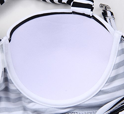 EasyMy Donne Vintage Pois Vita Alta Costumi Bikini Bianco-nero