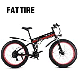 Bici elettrica Fat Mountain Bike 1000W 48V da uomo 21 velocità Pedali bici da neve Heavy Duty Bike bici da 26 pollici con freni a disco idraulici e forcella completa (batteria al litio estraibile)