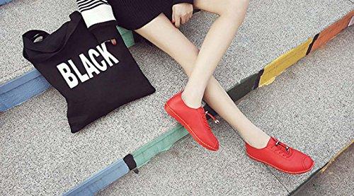 NobS 'S scarpe di cuoio dei pattini casuali Lace-Up pattini piani Studenti Scarpe Donna' Women Shoes S Red
