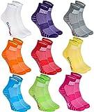 9 Paar Sportliche Socken Moderne Originelle bunte Socken in 9 modischen Farben; in der EU produziert; Größen 44-46. Ideal, wenn der Fuß frei atmen muss. Höchste Qualität. Öko-Tex!