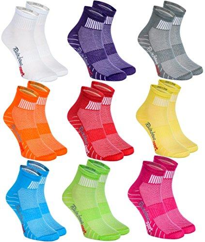 Rainbow Socks - Damen Herren Bunte Baumwolle Sport Socken - 9 Paar - Lila Grün Grau Pink Orange Rot Weiß Blau Gelb - Größen EU 44-46