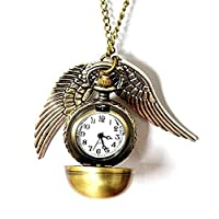 Fashion Jewelry Bronze Harry Potter Snitch flying ball Pendant Necklace/pocket watch