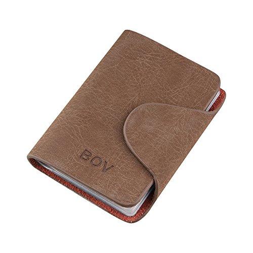 Zhi Jin klassischen PU Name, Business Card Inhaber Wallet Kreditkarten Organizer Display Schutzhülle für Herren Travel Geschenk 20Karte Slots helles kaffebraun (Seite 2 Id-card-inhaber)