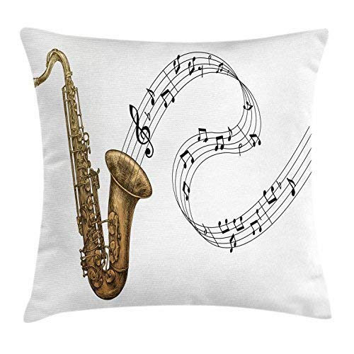 Kissenbezüge Saxophone Throw Pillow Cushion Cover, Jazz Blues Concert Band Rock and Roll Clarinet Pop Punk Retro Artful Tempo, Decorative Square Accent Pillow Case, 18 X 18 Inches, Gold Dark Brown