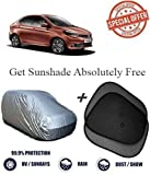 #9: Fabtec Silver Car Body Cover With 2 Sunshade For Tata Tigor (Tirpal)