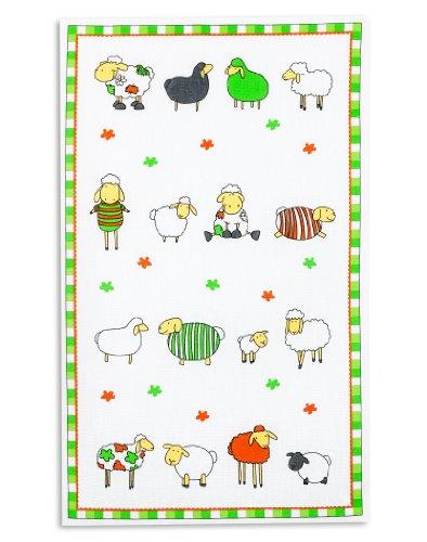 Torchon de vaisselle, 100% coton, nid d'abeille imprimé, TRIOLINO®, motif moutons multicolors 45x70cm
