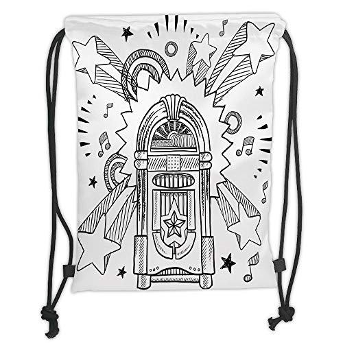 OQUYCZ Drawstring Sack Backpacks Bags,Jukebox,Retro Vintage Cartoon Sketchy Style Radio Music Notes Box with Stars Image,Black and White Soft Satin,5 Liter Capacity,Adjustable String Closure,T -