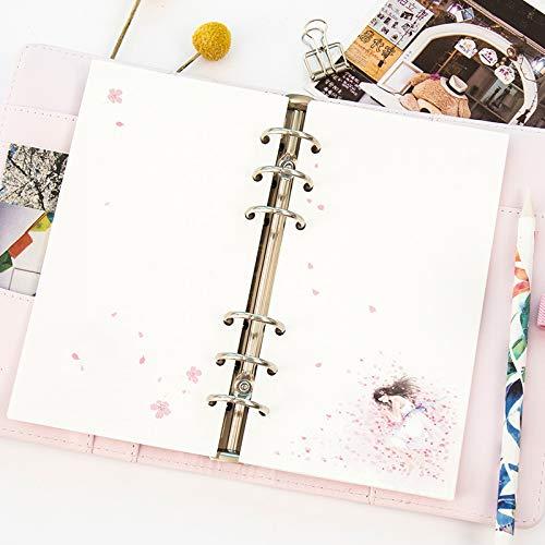GKUDLSQ Notizbuch 40 Blatt 6 Löcher A5 Spirale Kirschblüten Notebook Innenseiten Liste Planer Loose Leaf Binder Papier (Papier Binder Spirale)