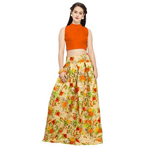 EyesOnMe Women's Satin Lehanga Choli (Flower_Print _Orange_ Free Size)