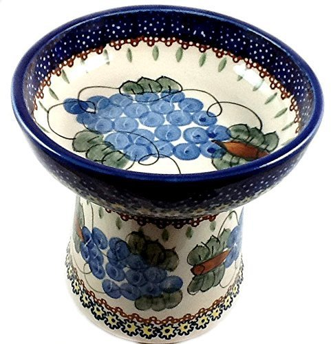 polish-pottery-cat-small-dog-raised-dry-food-dish-water-bowl-signature-dmw-grapes