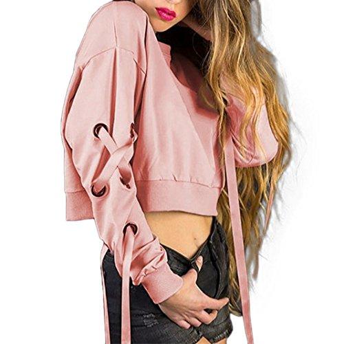 Tops à manches longues Femme 2017 Longra Bandge col rond Court Sweatshirt Rose Loose Blouse Chic Retro Élégant Pas Cher Pull À la mode Rose