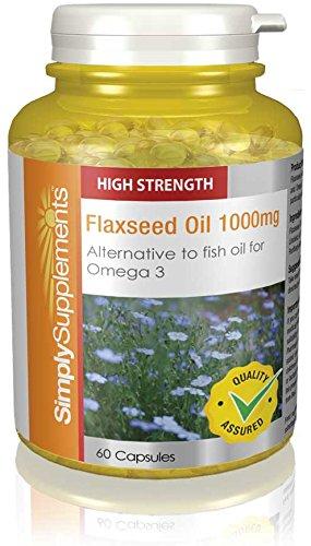 Olio di Semi di Lino 1000mg| Fonte vegetale degli Omega 3 |2x 180 Capsule (360 in totale) SimplySupplements