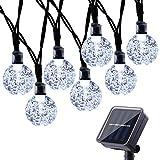 Qedertek Solar String Lights, Outdoor Garden 30 Crystal Ball LED Fairy Lights 8 Modes Waterproof Solar Powered Decorative Lights for Garden, Patio, Gazebo Decoration (White)