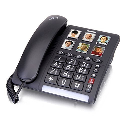 Switel TF540 schnurgebundenes Grosstastentelefon mit 6 kurzwahl Fototasten, extra laut