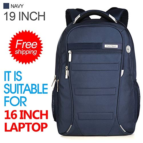 QWKZH Rucksäcke Laptop Backpacks Men for 15-17 inch Computer School Bags Boy Travel Waterproof Anti-Theft Notebook Black,Navy-Russian Federation - Black Navy Notebook