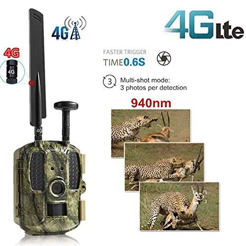 4G LTE Scout Guard Camera Trap Jagdkamera, GPS APP MMS 940nm Night Vision Wild Camera Recorder 1080P 52 Pcs IR LED 120 ° Weitwinkel, Trail Game Kamera