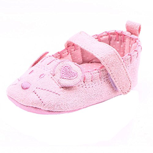 Newborn Baby Girl Princess soft Soled Mouse Pattern First Walker Toddler Shoes Pink 6-12M