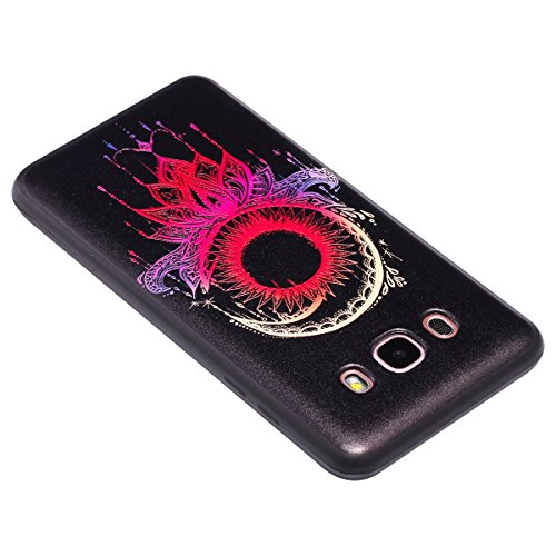 Custodia Galaxy J5 2016, ISAKEN Cover per Samsung Galaxy J5 2016 [TPU Shock-Absorption] - Colorate Sollievo Pattern Design Soft TPU sottile Custodia Case Nero Back Ultra Sottile TPU Morbido Protettiva ethnic dtreamcatcher