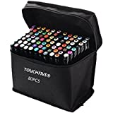 TOUCHFIVE - Marker Brush Lote de 80 rotuladores alcohol (Negro)