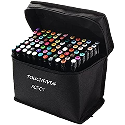 TOUCHFIVE - Marker Brush Lote de 80 rotuladores alcohol (Negro)