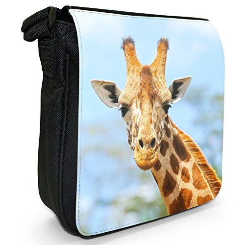 African Giraffe-Borsa a tracolla in tela, piccola, colore: nero, taglia: S Nero (Giraffe In The Wild)