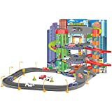 Junior Toy Garage, Three Levels with working Lift and Six Metal Cars (Large Garage)