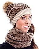 Winter Kombi Set, bestehend aus Damen Schal und passender Strick Mütze. Bommelmütze mit Pompon in aktuellen Farbkombinationen, Winter Set:4A-braun