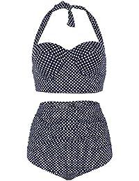 Traje de Baño Mujer de Traje de Baño de Talle Alto de Bikini de Vintage Bikini