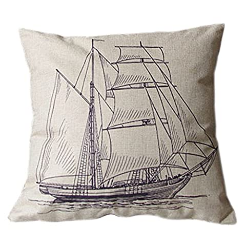 Bluelans® 42cm x 42cm Square Cotton Linen Cushion Cover Sailboat