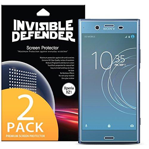 Sony Xperia XZ1 Schutzfolie, Ringke Invisible Defender [vollständige Abdeckung] [2er-Pack] gebogene Kante an Kante Seitenabdeckung garantiert [Fall kompatibel] superdünne HD Klarheit Film