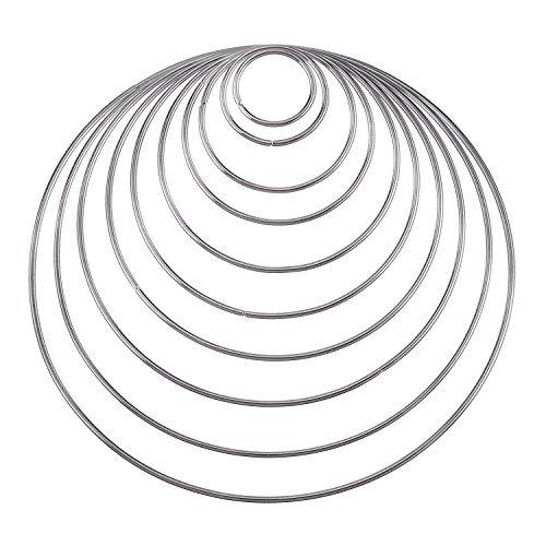 e Handwerk Metall Hoops für Dream Catcher, 10 Größen (Finger-ring-display)