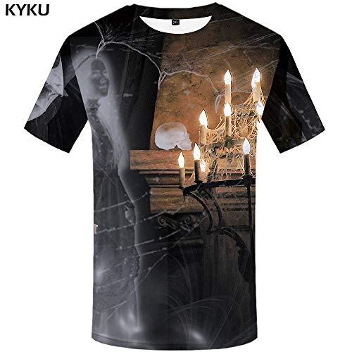 KYKU Schädel T-Shirt Männer Halloween 3D T-Shirt Kürbis Gedruckt T-Shirt Geist Cosplay Lustige T-Shirts Punk Rock Mens Kleidung Sommer (2 Kürbis-t-shirt Schädel Halloween)