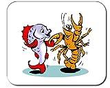 Mauspad mit der Grafik: Hummer, Tier, Tanzen, Langusten, Fisch