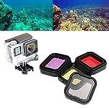 ASIV Wasserfeste Schutztasche mit 4 Stück Objektiv-Filter-Set (rote Yello grau violett) für GoPro HERO 3 + 4