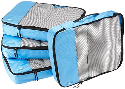 AmazonBasics Packing Cubes – Large (4-Piece Set), Sky Blue