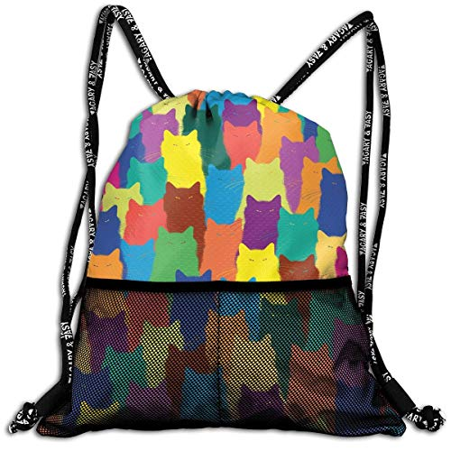 Jxrodekz Personalized Color Cat Group Drawstring Sports Nackpack with Mesh Pocket Cinch ()
