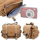 DURAGADGET Bolso Marrón/Canvas para Cámara Polaroid DGT IS529, Sony DSC-RX100 V, Canon IXUS 285 HS, Inkint 24,0, Kodak Pixpro AZ251, Panasonic DMC-LX100EGK Garantía 2 Años - Tamaño Grande