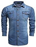 Burlady Jeanshemden Herren Langarm Denim Hemden Freizeit Shirts Regular Fit Hemden (L, A-Skyblau)