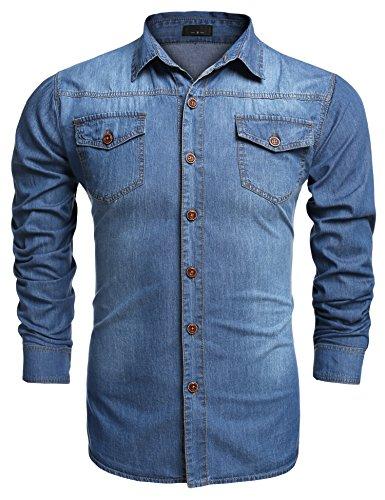 Herren Langarm Denim Hemden Freizeit Shirts Regular Fit Hemden (XL, A-Skyblau) ()
