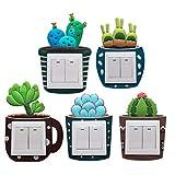 Vosarea Lichtschaltersticker Kaktu Design Lischtschalter Deko für Licht Schalter Steckdosen Wand Deko 5 Stück (Zufällige Muster)